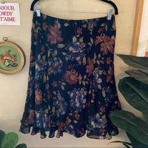 Vintage '90s Floral Ruffle Skirt
